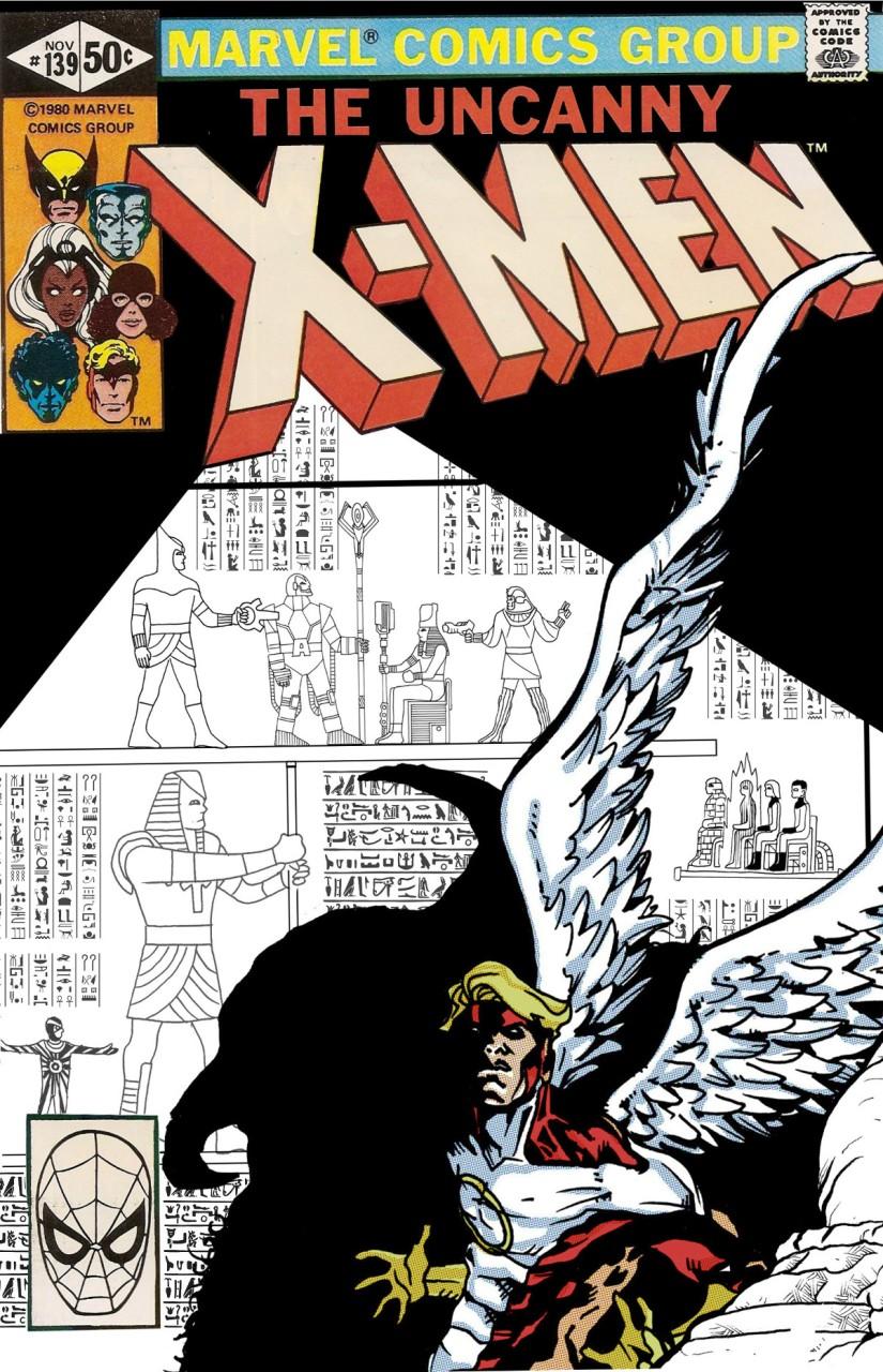 Angel couv xmen n&b hieroglyphes